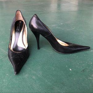 Black Italian Stiletto Heels with Pointed Toe